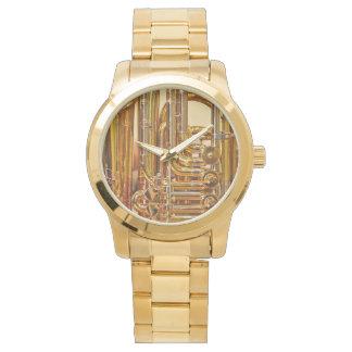 Tuba: Übergroße Goldarmband-Unisexuhr Armbanduhr