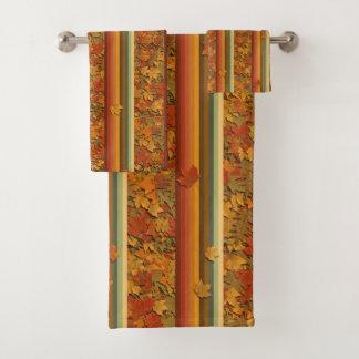 Tuch-Set - Herbst-Blätter und Streifen Badhandtuch Set