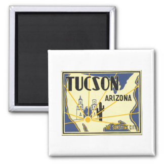 Tucson Arizona das Sonnenschein-Stadt-Vintage Plak Quadratischer Magnet