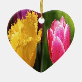 Tulips Flowers Keramik Herz-Ornament