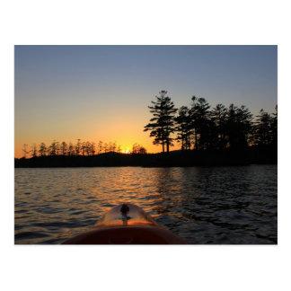 Tully See-Sonnenuntergang-Kajak Royalston MA Postkarte