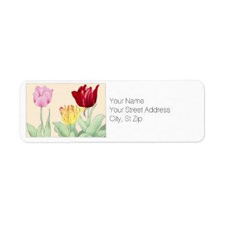 Tulpe, Botanicals Rücksendeadresse-Aufkleber