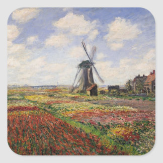 Tulpe-Felder Rijnsburg Windmühle Claude Monets | Quadratischer Aufkleber