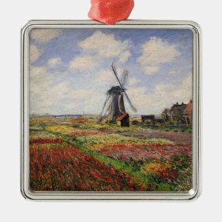 Tulpe-Felder Rijnsburg Windmühle Claude Monets | Quadratisches Silberfarbenes Ornament