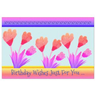 Tulpe-Geburtstag wünscht Gewebe-Papier Seidenpapier
