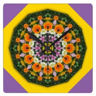 Tulpe-Natur, Blume-Mandala 002 Quadratische Wanduhr