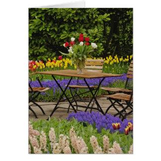 Tulpen der Tabelle im Garten, Keukenhof arbeitet Karte
