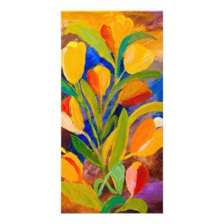 Tulpen, die im Acryl malen Karte