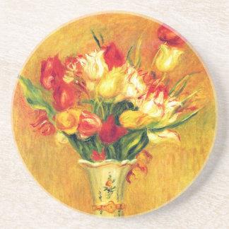 Tulpen durch Pierre Renoir, Vintage Sandstein Untersetzer