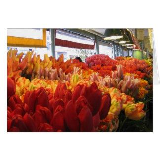 Tulpen für Verkauf im Pike-Platz-Markt Grußkarte