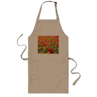 Tulpen, helles und buntes Gelbes und Rot Lange Schürze