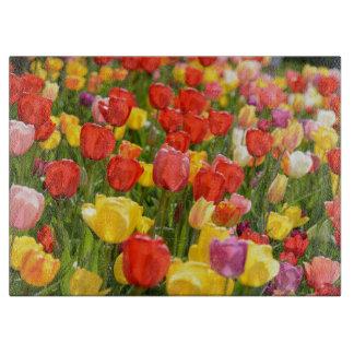 Tulpen im Garten Schneidebrett