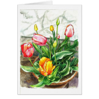 Tulpen in einem Topf Karte