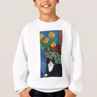 Tulpen, Smokings-Katze und eine Maus! Volkskunst Sweatshirt