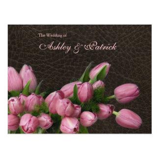 Tulpen und ledernes Hochzeits-Programm Postkarte
