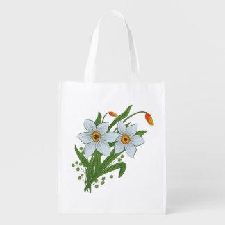 Tulpen und Narzissen-Blumen Wiederverwendbare Einkaufstasche