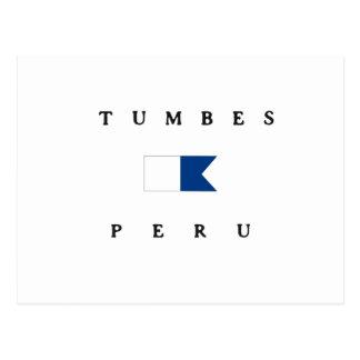 Tumbes Peru Alphatauchen-Flagge Postkarte