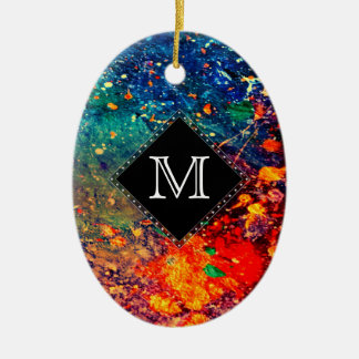 Tumultuous Monogramm-Regenbogen-Spritzer des Ovales Keramik Ornament
