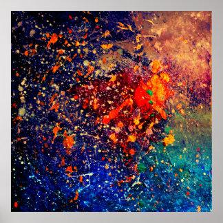 Tumultuous mutiger Regenbogen-Spritzer abstrakt Poster