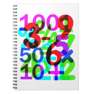 Tun Sie die Mathe-Spaß-bunte Zahl-Typografie Notizblock