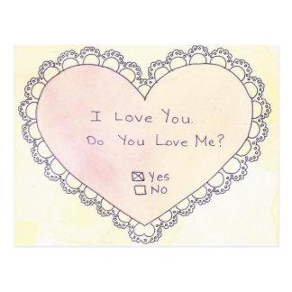 Tun Sie Liebe ich? Ja oder nein? Postkarte