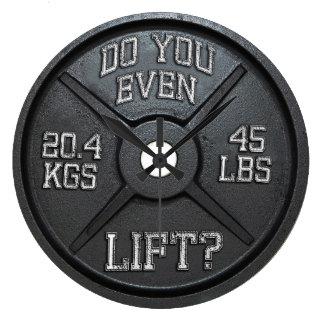Tun Sie Sie sogar Aufzug - Barbell-Platten-Wanduhr Große Wanduhr
