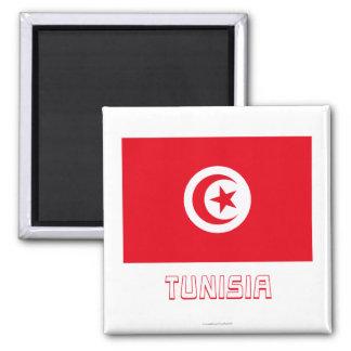 Tunesien-Flagge mit Namen Quadratischer Magnet