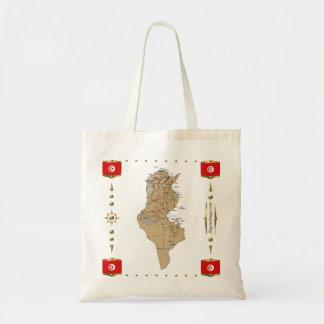 Tunesien-Karte + Flaggen-Tasche Tragetasche