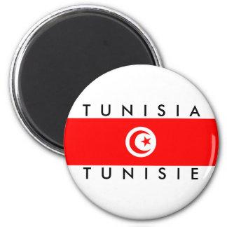 Tunesien-Landesflaggenamentext-Symbol tunisie Runder Magnet 5,7 Cm