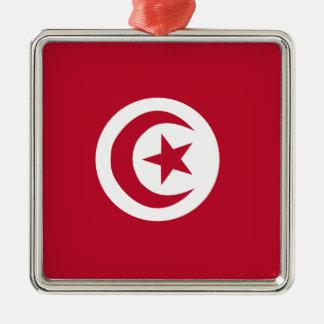 Tunesische Flagge Silbernes Ornament