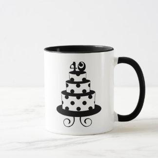 Tupfen-40. Geburtstags-Jahrestags-Kuchen Tasse