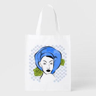 Tupfen-blaue Hut-Tasche Wiederverwendbare Einkaufstasche
