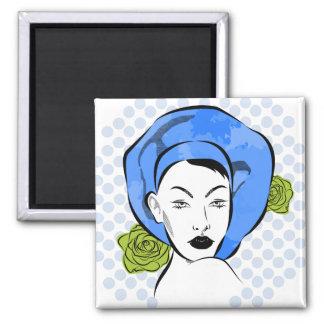 Tupfen-blauer Hut-Magnet Quadratischer Magnet