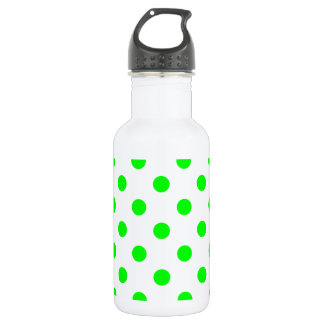 Tupfen - elektrisches Grün auf Weiß Trinkflasche