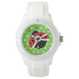Tupfen-Gänseblümchen-Armbanduhr-Marienkäfer Uhr