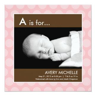 Tupfen-Geburts-Mitteilung (Rosa) Quadratische 13,3 Cm Einladungskarte