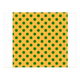 Tupfen groß - Grün auf Orange Postkarte