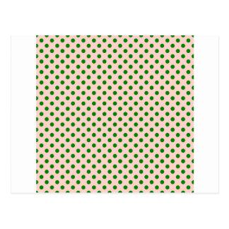 Tupfen - Grün auf Rosa Postkarte