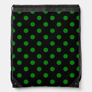 Tupfen - Grün auf Schwarzem Turnbeutel