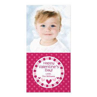 Tupfen-Herz-rosa Valentinstag Foto Karten
