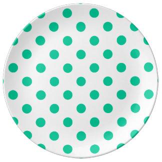 Tupfen - karibisches Grün auf Weiß Teller
