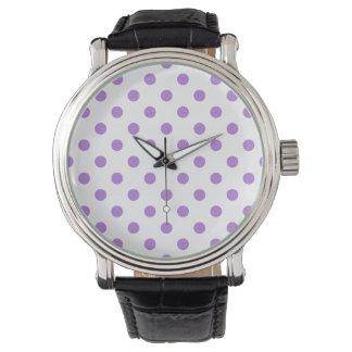 Tupfen - Lavendel auf Weiß Uhr