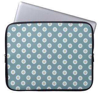 Tupfen-Muster - blaues Brown-Sand-Beige-Türkis Laptopschutzhülle