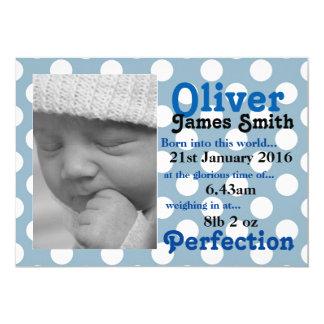 Tupfen-neue Geburts-Mitteilungs-Karte 12,7 X 17,8 Cm Einladungskarte