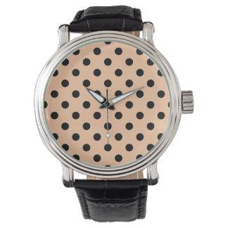 Tupfen - Schwarzes auf tiefem Pfirsich Armbanduhr