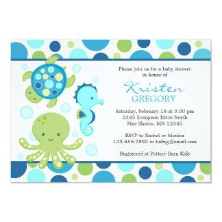 Tupfen-SeeBabyparty-Einladungen │ Blau Karte