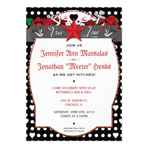 Tupfen-Tätowierungs-Rockabilly Hochzeits-Einladung