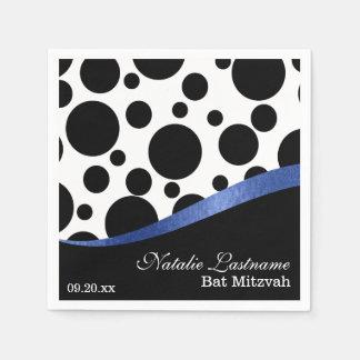 Tupfen und blauer Schläger Mitzvah Papierservietten