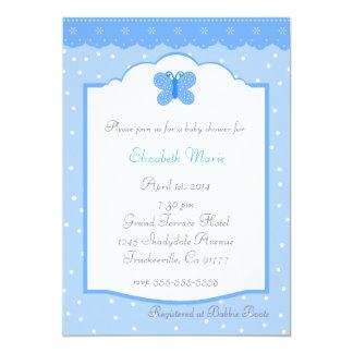 Tupfen und Schmetterling-Blaue Babyparty Personalisierte Einladung