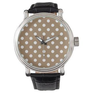 Tupfen - Weiß auf blassem Brown Uhr